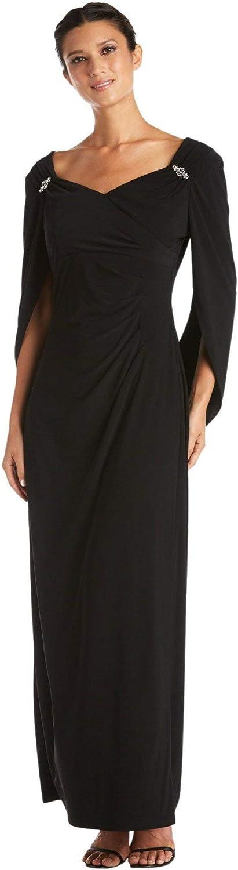 Dressbarn Women's Black Long Dress with Back Sleeves, Sweetheart Neckline