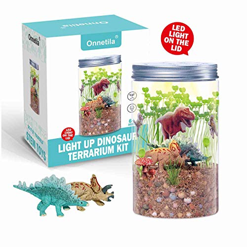 Onnetila Dinosaur Fairy Garden in a Jar Light up Terrarium Kit for Kids Plant Growing Kit Grow and Glow Terrarium STEM Educational Projects Boys and Girls Crafts for Kids Age 6, 7, 8, 9 Year Old