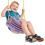 KBT Schaukelsitz Lila mit gelben Seilen - Schaukel aus HDPE für Kinder und Erwachsene bis 70 kg....