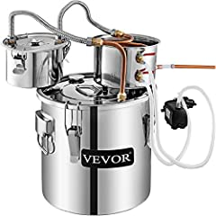 """【Sufficient capacity】- Moonshine Still Machine owns 5Us gal real capacity, able to distill 21 liters of raw material by heating to selectively boil and then cooling to condense the vapor. Boiler barrel: 11. 8"""" X 11. 8"""" (30 x 30 cm). condenser: 7. 9"""" ..."""