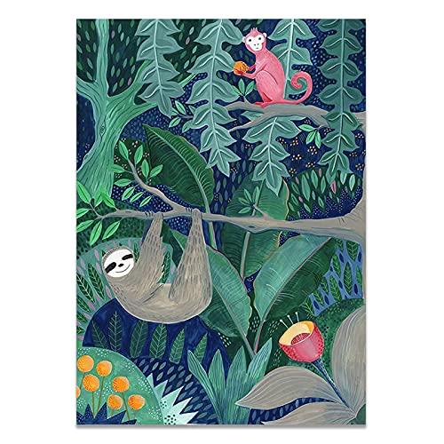 Nordic Fleur Plants Stockholm Style Art Canvas målning Poster Vardagsrum och kafé dekoration 50x70 cm (19,68x27,55 in) S-1135