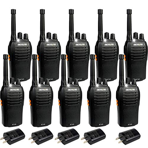 Retevis RT46 Rechargeable Walkie Talkies for Adults,2 Way Radio Long Range,Emergency Flashlight AA Dual Power VOX,Two Way Radio for Business Police Events(10 Pack)