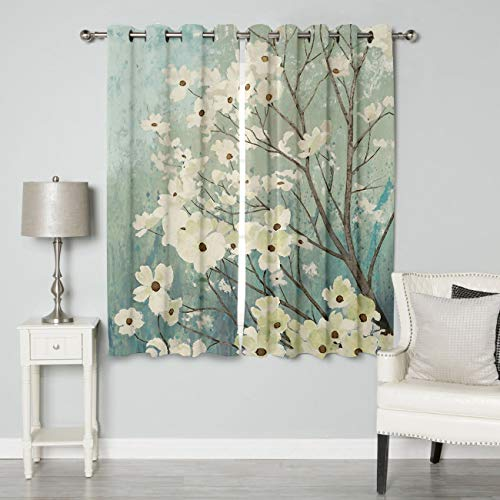 BABE MAPS Thermal Insulated Curtains for Living Room, Floral Printed Bathroom Window Curtain 63 inch Length, Polyester Window Kitchen Cafe Curtains, White Flowers Branch Nature Painting, Set of 2