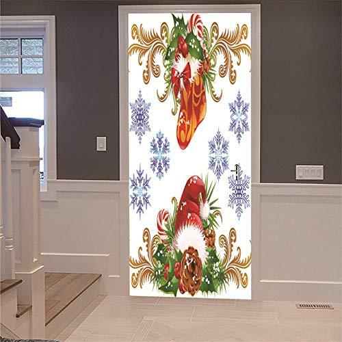 ZCFGG 3D Türaufkleber Weihnachtsmütze Türfolie Selbstklebend Tür tapete Fototapete Türpanel Türposter Foto Bild Poster Abnehmbar Wand für Wohnzimmer Küche Schlafzimmer Dekoration