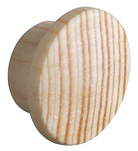 Gedotec Abdeckkappen Loch-Abdeckungen Holz für Blind-Bohrung Ø 10 mm | Massivholz Kiefer naturbelassen | Gesamt Ø 15 mm | Kappen rund zum Eindrücken | 20 Stück - Endkappen für Möbel & Schrauben-Löcher