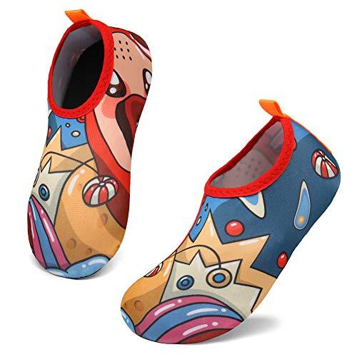 SOLLOMENSI Zapatos de Agua Escarpines para Niños Niñas Secado Rápido Calcetines Descalzos de Aqua para Al Aire Libre Playa Nadando Paseo Surf Buceo Snorkel Yoga Ejercicio