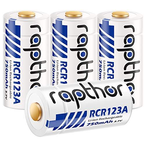 Rapthor 4 Pack 750mAh CR123A Batteries for Arlo Wireless Security Camera Flashlights Smart Sensors Alarm System
