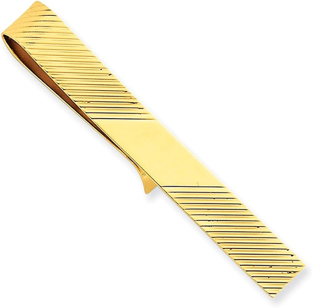 Couture Jewelers- 14k Yellow Gold Tie Bar with Diagonal Stripe Design Clip, Birthday Gift, Men Accessory- Casual Wear Jewelry