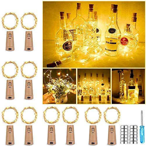 Nasharia 10 Stück Flaschen Licht Warmweiß, 25 LEDs 2.5M Flasche LED Lichterketten Stimmungslichter Weinflasche, batteriebetriebene für Flasche DIY, Dekor, Party, Urlaub, Weihnachten