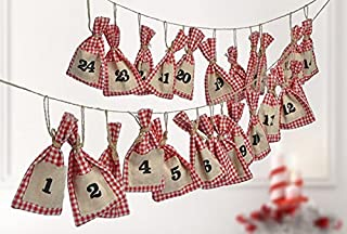 Gravidus kalendarz adwentowy z workami w kratkę w kolorze czerwono-białym do napełniania