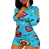 zhangqing Women 's V-Neck Bodysuit Jumpsuits Print Short Onesies Stretch Long Sleeve Pajama Romper(Blue-Red Lip, S)