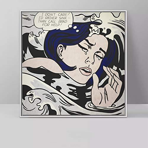 supmsds Kein Rahmen Kunst Roy Lichtenstein Pop Art Leinwand Malerei Abstrakte Kunst Für Wohnzimmer Quadratische Wandbilder Leinwanddrucke 50x50cm