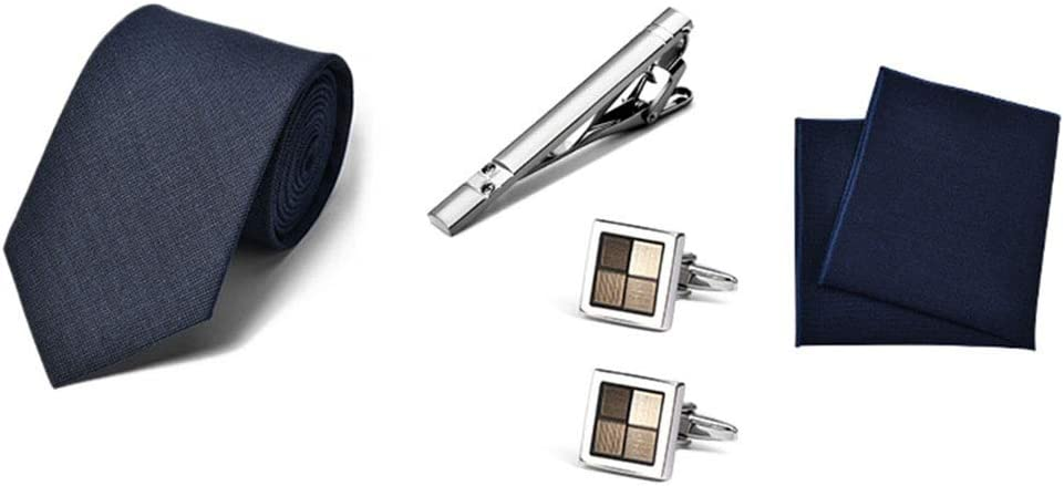 Losip-cc Pack of 4 Necktie Gift Box Set,Necktie, Tie Cilp,Cufflinks & Pocket Square Set,Gift for Bussines Men,bf,Father,Bridegroom,for Wedding,Valentine's Day,Anniversary (Color : H)