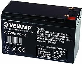 VELAMP 23728 Batteria Ricaricabile Piombo, Attacchi Faston, 12 V, 7 Ah, Nero