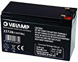 VELAMP 23728 Batteria Ricaricabile Piombo, Attacchi Faston, 12 V, 7 Ah. per ups, sistemi d'allarme, Hobby, Nero