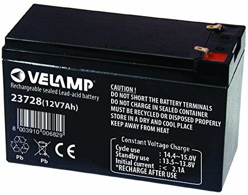 VELAMP 23728 Batteria Ricaricabile Piombo, Attacchi Faston, 12 V, 7 Ah. per ups, sistemi d allarme, Hobby, Nero