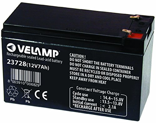 VELAMP 23728 Batteria Ricaricabile Piombo, Attacchi Faston, 12 V, 7 Ah. per ups, sistemi d'allarme, Hobby, Nero