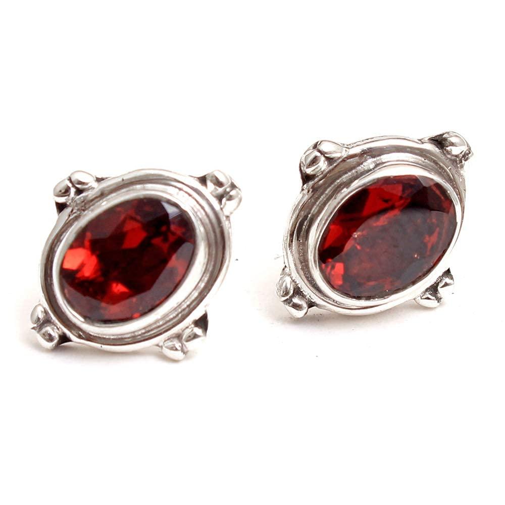 Gorgeous Finally popular brand Red Garnet Gemstone Stud 925 Silver Je Popular Earring Sterling