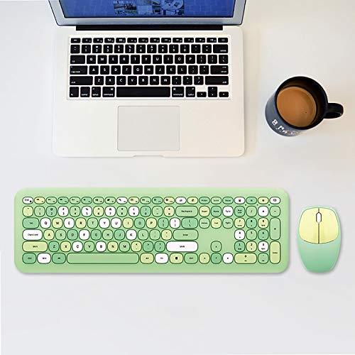 Mymyguoe Tastatur Maus Set kabellos Gaming-Tastatur und Maus kombiniert mit Hintergrundbeleuchtung, LED-Tastatur Rainbow mit 6400 DPI von Maus, für Windows, Büro, Laptop (Green, 45 * 14.5 * 6.7cm)