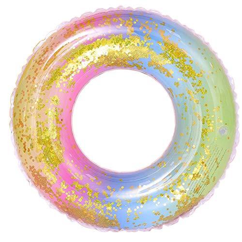 Wenxiaw Regenbogen Schwimmring Schwimmreifen für Erwachsene Schwimmreifen Transparent Haltbar Wasserspielzeug Schwimmring Erwachsene Glitzer Schwimmreifen für Sommerparty Außendurchmesser 85cm