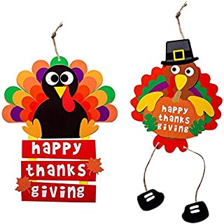 FRECI 2pcs Thankgiving Hanging Sign DIY Hanging Plaque Decorations for Thankgiving Harvest Turkey Hanging Decorations