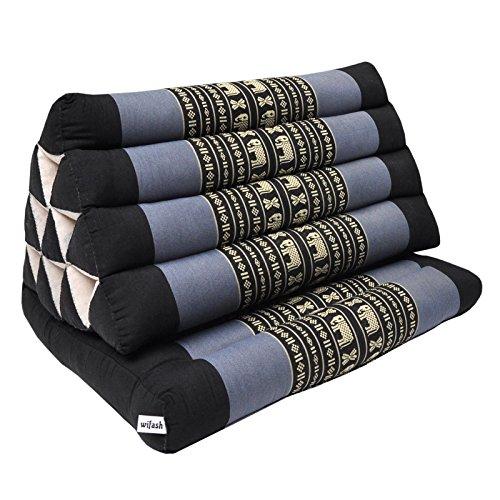 Thaikissen Kapok Bodenkissen Dreieckskissen Nackenkissen Liegematte Sitzkissen LOUNGE ***blau-grau schwarz mit Elefanten*** (Kissen 1 Auflage (81301))