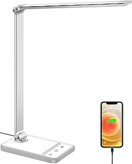 LED Desk Lamp, Eye-Caring Desk Lamp with USB Charging Port, Dimmable Desk Light with 6 Brightness Levels & 5 Lighting Mode...