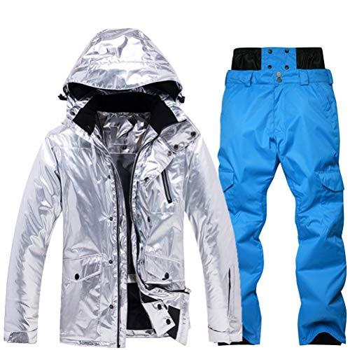 Hbao Glänzend Silberne Herren- und Damen-Skianzüge Winterwarmer wasserdichter und winddichter Snowboardjacken Skianzug Damen-Schneeanzug (Color : Blue, Size : Large)