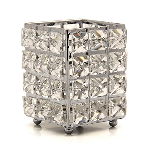 VINCIGANT Kristallkerzenhalter, Kerzenhalter für Hochzeit Tischdekoration, Geburtstags Geschenk (Square Silver)