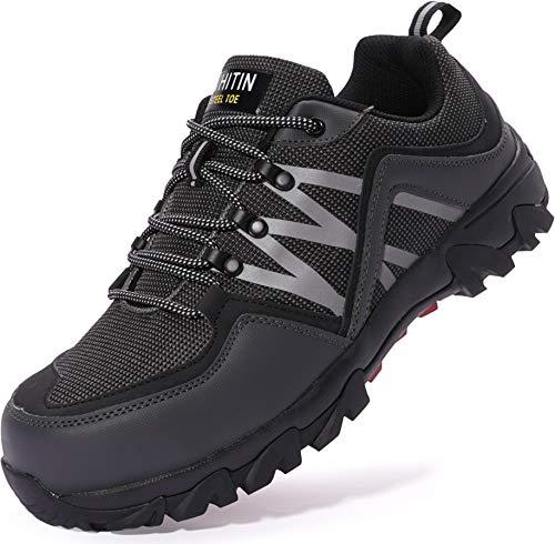 WHITIN Zapatos de Seguridad Hombres Zapatillas de Trabajo con Punta de Acero Ultra Liviano Reflectivo Anti-Deslizante Transpirable Zapatos de Industriay Construcción Gris 41 EU