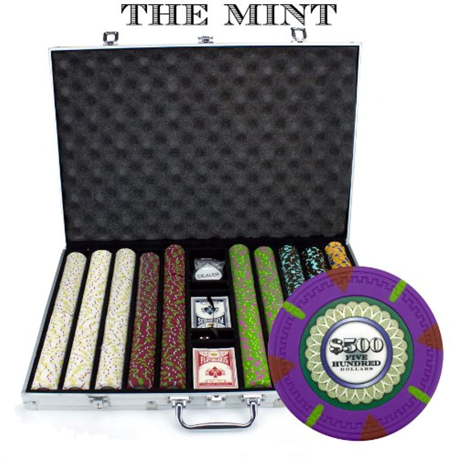 Claysmith Gaming 1,000 Ct The Mint Poker Set - 13g Clay Composite Chips with Aluminum Case, Playing Cards, Dealer Button