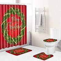 4個クリスマスバスルームセット滑り止め敷物、トイレ付き蓋カバー、クリスマスの装飾のためのバスマットとシャワーカーテン Red ring-Medium
