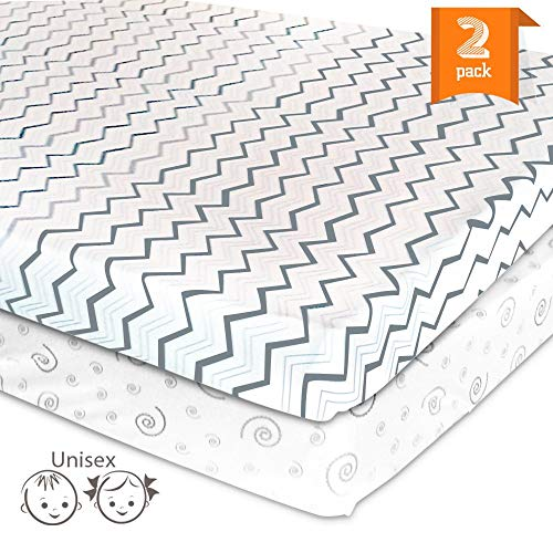 New Mini Crib Sheet Set for Portable Play Yard – 2 Pack Jersey Cotton Playpen Fitted Sheets – Gr...