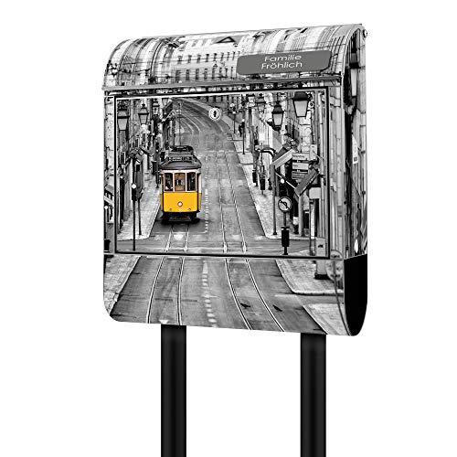Banjado Design Briefkasten personalisiert mit Motiv Lissabon | Stahl pulverbeschichtet mit Zeitungsrolle | Größe 39x47x14cm, 2 Schlüssel, A4 Einwurf, inkl. Montagematerial
