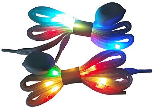LIHAI LED Light Up Shoelaces with Multicolor Flashing Led, White, Size Medium