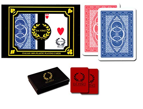DA VINCI Ruote, Italian 100% Plastic Playing Cards, 2-Deck Poker Size Set, Regular Index, w/2 Cut Cards