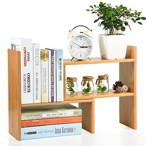 Lisuu Bamboo Adjustable Desktop Bookshelf Countertop Bookcase Adjustable Desk Organizer Desktop Shelf Rack Home Office Kitchen