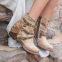 女性のブーツ分厚いヒール尖ったつま先のブーティアンクルブーツカジュアルな毎日ウォーキングシューズビンテージフェイクレザータッセルベルトバックルブーツ,カーキ,40