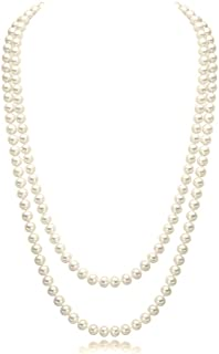 """CrazyPiercing Imitation Pearls Flapper Beads Cluster Long Pearl Necklace 55"""" Inspired by Great Gatsby"""