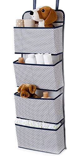 ULEEMARK Hanging Wardrobe Storage 4 Pockets Door Hanging Storage Organiser for Toys Clothes Magazine Foldable Design