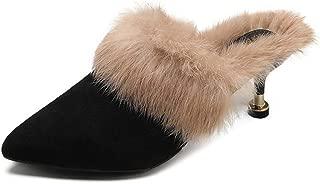 Women's Fashion Pointed Toe Fur Mules Kitten Heel Backless Slipper Slip On Loafer Shoes