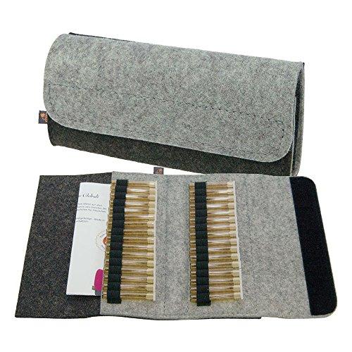 Premium Taschenapotheke von ebos | handgefertigte Reiseapotheke aus echtem Wollfilz | 32 Schlaufen für Globuli-Röhrchen | Globuli-Tasche, Globuli-Etui, Globuli-Mäppchen zur Aufbewahrung von homöopathischer Hausapotheke | grau