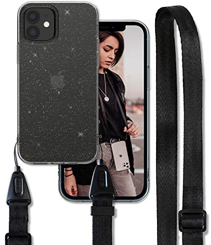 Ringke Air Shoulder Strap Compatible with iPhone 12 Case, Crossbody Neck Lanyard with Clear TPU Silicone Phone Cover for 6.1-inch (2020) - Glitter Clear