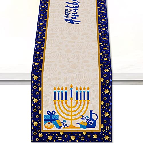 Vohado Happy Hanukkah Table Runner Jewish Chanukah Menorah Table Cover Festival Day Table Cloth Party Wedding Kitchen Dining Room Home Outdoor Holiday Rectangular Table Decoration