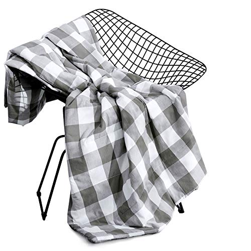 """Wake In Cloud - Gray Plaid Blanket Throw, 100% Washed Cotton Fabric with Soft Microfiber Inner Fill, Buffalo Check Gingham Geometric Checker Pattern Printed in Grey and White (50""""x60"""")"""