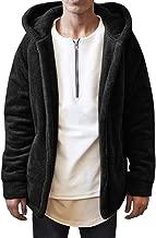 Mens Hoodies Fuzzy Sherpa Fleece Cardigan Open Front Fall Coat Lightweight Winter Warm Jackets with Pockets