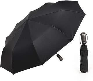 SHANGRUIYUAN-Umberllas Automatic Travel Umbrella with 10 Reinforced Fiberglass Ribs Windproof Durable Sun Block Rain Guard (Color : Black, Size : Free)