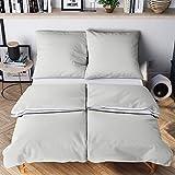 Wolkenfeld Bettwäsche 135x200 4teilig grau weiß - kuschelig weich & bügelfrei - [2X] Bettbezug + [2X] Kissenbezug 80x80 - Ganzjahres-Bettwäsche