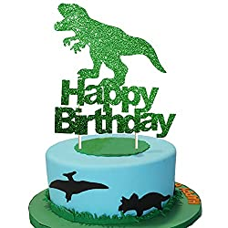 2. goodyh Green Glitter Happy Birthday T-Rex Dinosaur Cake Topper