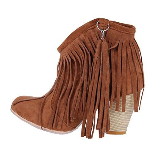 AIYOUMEI Damen Blockabsatz Ankle Boots Klassischer Stiefeletten mit Fransen High Heels Party Stiefel...